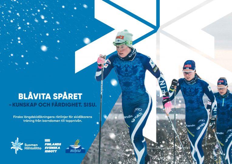 Pärmbild för Blåvita spåret med Krista Pärmäkoski som skidar