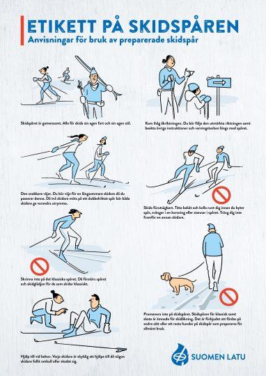 Bild som beskriver vad som är viktigt att komma ihåg i skidspåret